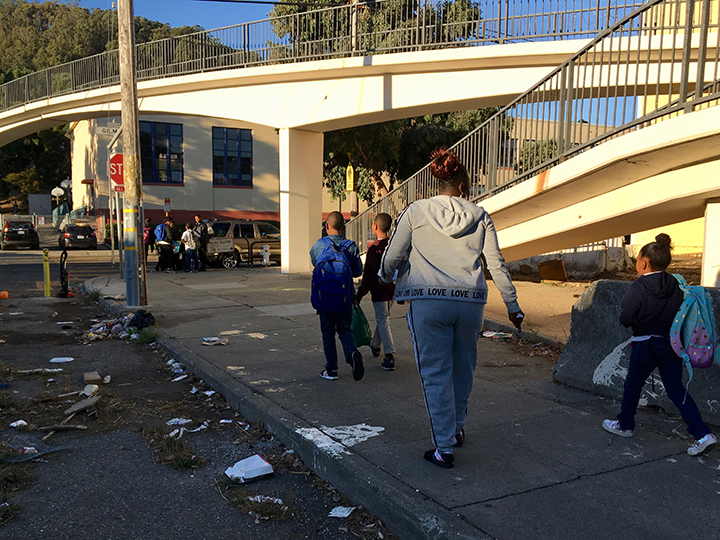 Kids-walk-Alice-Griffith-to-Bret-Harte-with-grandparent-volunteer-0119-by-Lee-Romney-web, How can San Francisco support its most vulnerable Black residents? Help them succeed at school, Local News & Views