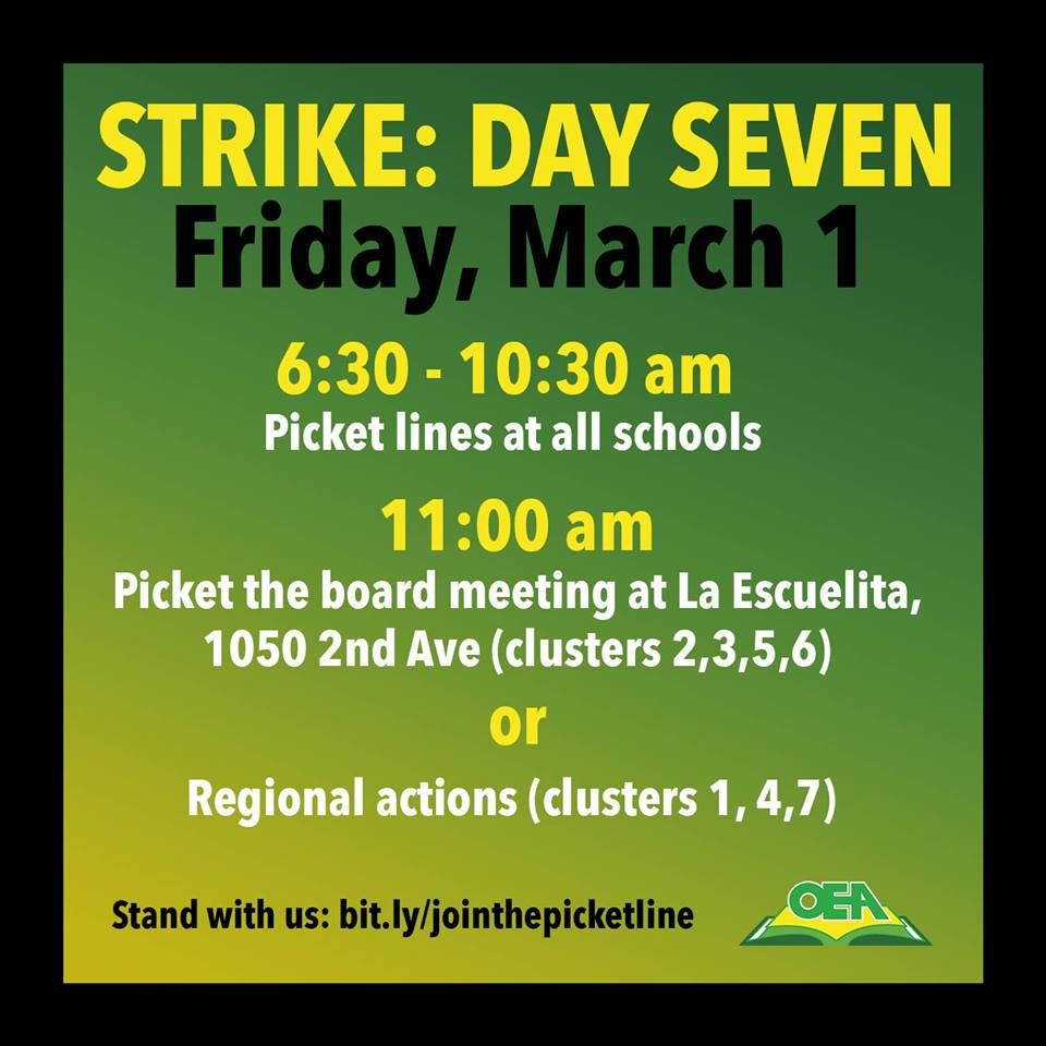 Strike-Day-7-OEA-poster-030119, Reflections of an Oakland Unified School District teacher on strike - Day 6 - Breaking news: Tentative agreement reached, Local News & Views