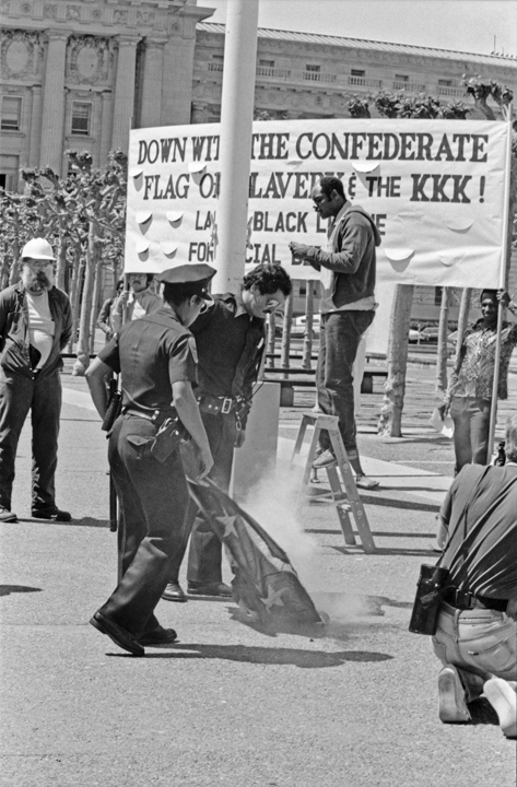 Cops-watch-Spartacist-League-and-Labor-Black-League-supporters-burn-the-Confederate-flag-SF-Civic-Center-041584-by-Workers-Vanguard-web, It's true: As San Francisco mayor, Dianne Feinstein did repeatedly fly a Confederate flag in front of City Hall, Local News & Views