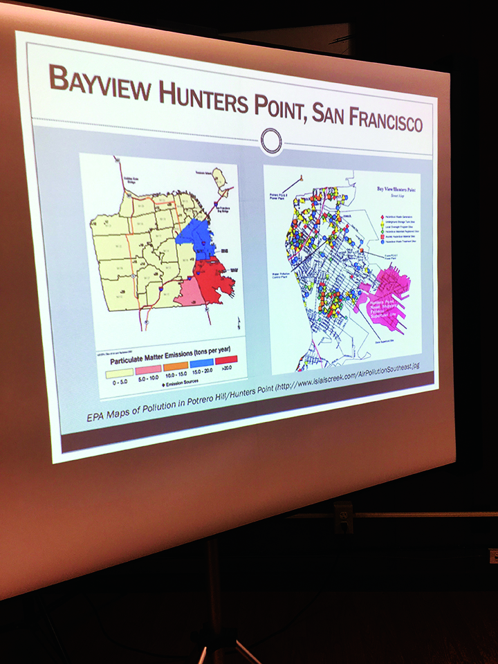 Map-showing-particulate-emissions-in-red-concentrated-in-BVHP-near-Shipyard, Advancing environmental public health through implementation of a Biomonitoring Program at the Hunters Point Shipyard, a federal Superfund site, Local News & Views
