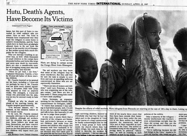 NYT-article-gives-green-light-for-continued-massacres-of-innocent-non-combatant-refugees-in-Zaire-041397-1, Rwanda: 25 years on, U.S. taxpayers paying millions for Homeland Security's sham 'Genocide Fugitive' trials in Boston, World News & Views