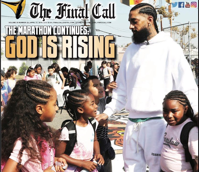 Nipsey-Hussle-greets-children-Final-Call-042319, Nipsey Hu$$le, a rose from concrete, Culture Currents