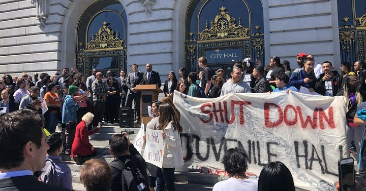 Rally-to-close-SF-Juvenile-Hall-by-2021-Shamann-Walton-at-mic-City-Hall-steps-040919-by-Sarah-Ruiz-Grossman-HuffPost, Youth and SF Board majority back Shamann Walton's proposal to close Juvenile Hall because 'all you learn is how to survive in prison', Local News & Views