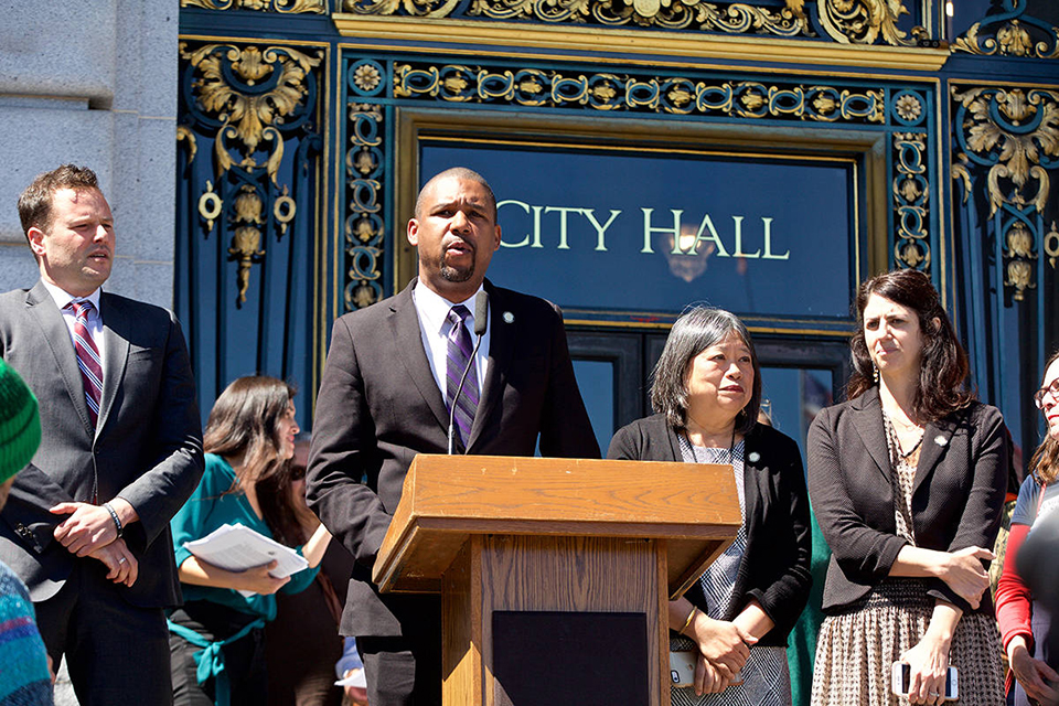Rally-to-close-SF-Juvenile-Hall-by-2021-Supervisors-Haney-Walton-at-mic-Fewer-Ronen-City-Hall-steps-040919-by-Kevin-N.-Hume-SF-Examiner, Youth and SF Board majority back Shamann Walton's proposal to close Juvenile Hall because 'all you learn is how to survive in prison', Local News & Views