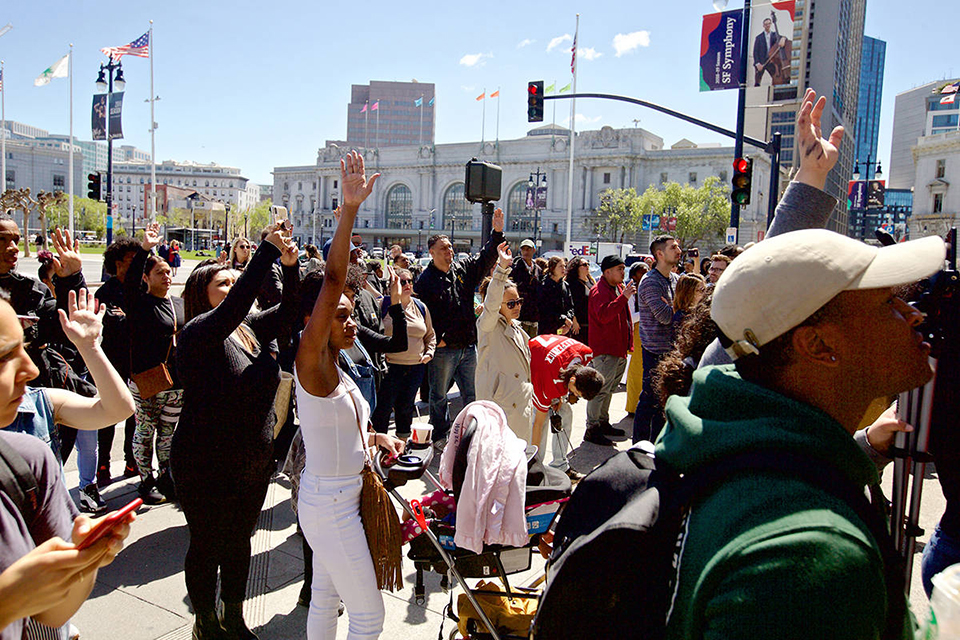 Rally-to-close-SF-Juvenile-Hall-by-2021-ralliers-impacted-by-Juvenile-Hall-raise-hands-City-Hall-steps-040919-by-Kevin-N.-Hume-SF-Examiner, Youth and SF Board majority back Shamann Walton's proposal to close Juvenile Hall because 'all you learn is how to survive in prison', Local News & Views