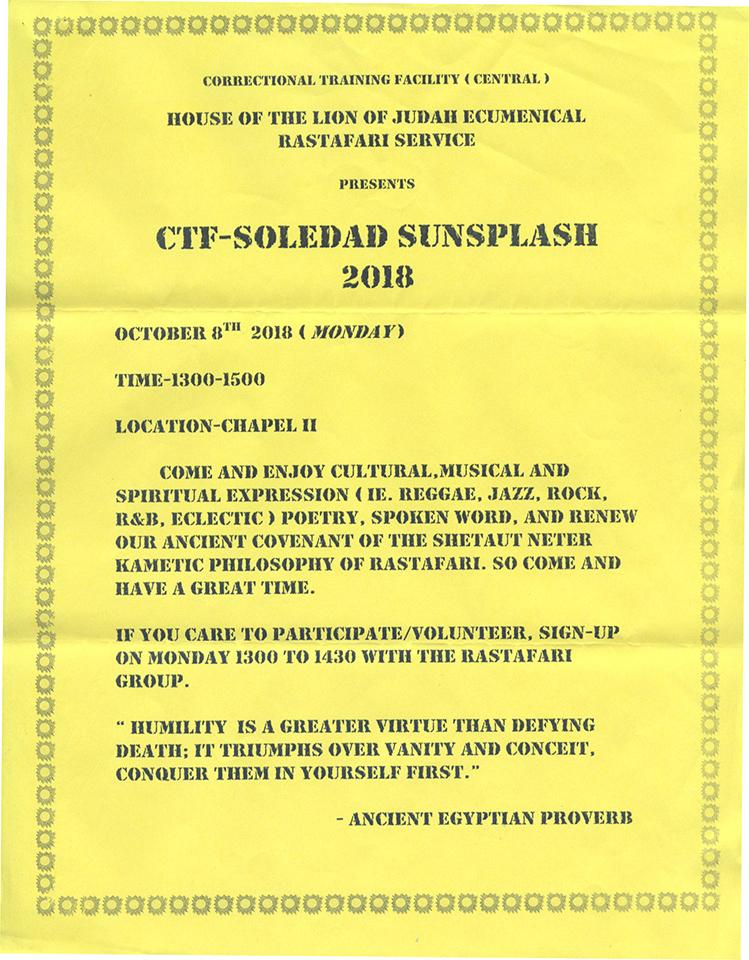 Soledad-Sunsplash-flier-from-Shai-Alkebu-lan-web, Rastafari speaks: Prisoners are nothing more than a paycheck in CDCR's criminal empire, Behind Enemy Lines