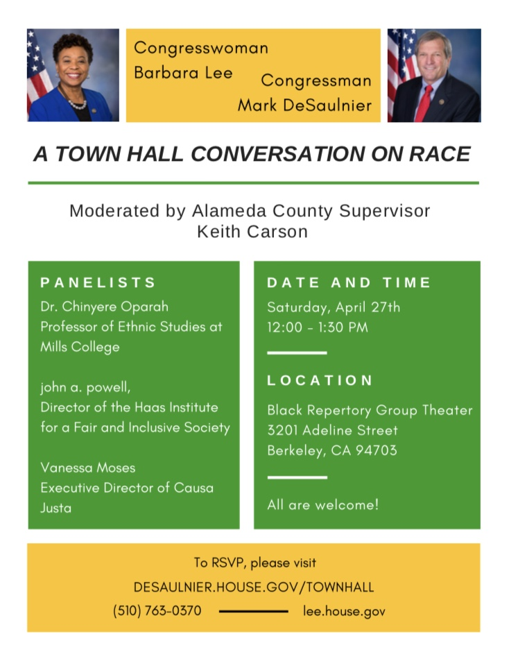 A-Town-Hall-Conversation-on-Race-flier-042719, In 'Town Hall Conversation on Race,' Reps. Barbara Lee and Mark DeSaulnier trace racism back to the Middle Passage, Local News & Views