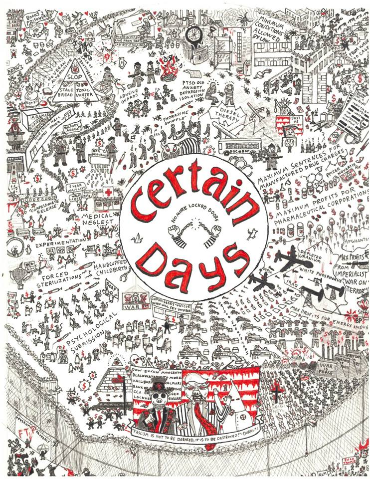 Certain-Days-No-More-Locked-Doors-art-by-Jeremy-Hammond, Certain Days Political Prisoners Calendar call out for art and articles – deadline May 24, for prisoners June 7, Behind Enemy Lines
