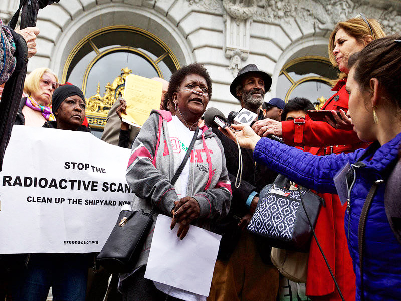 Marie-Harrison-leads-protest-wearing-oxygen-cannulas-prior-to-Hunters-Point-Shipyard-Superfund-site-cleanup-hearing-SF-City-Hall-steps-051418-by-Kevin-N.-Hume-SF-Examiner-1, To the very last breath: Marie Harrison's epic stand to save Bayview Hunters Point, Local News & Views