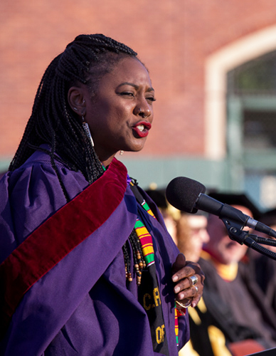 Alicia-Garza-top-grad-student-delivers-commencement-address-SFSU-052517-by-SF-State-News-cropped, Two powerful women, Alicia Garza and Wanda Sabir, discuss growing the power of women and Black people, National News & Views