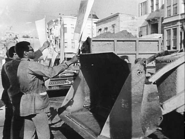 Fillmore-Blacks-stop-Redevelopment-bulldozers-c.-1960-by-SF-Examiner, Fillmore Midtown residents: Righting the wrongs of racist urban renewal, Local News & Views