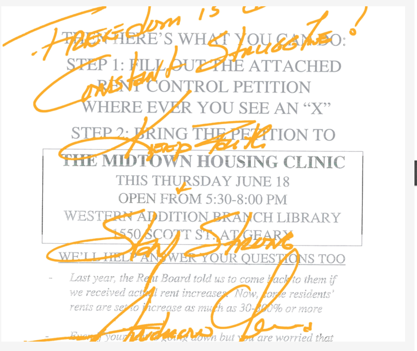 Freedom-is-a-constant-struggle-Keep-faith-stay-strong-Andrew-Young-handwritten-note-to-Midtown-residents, Fillmore Midtown residents: Righting the wrongs of racist urban renewal, Local News & Views