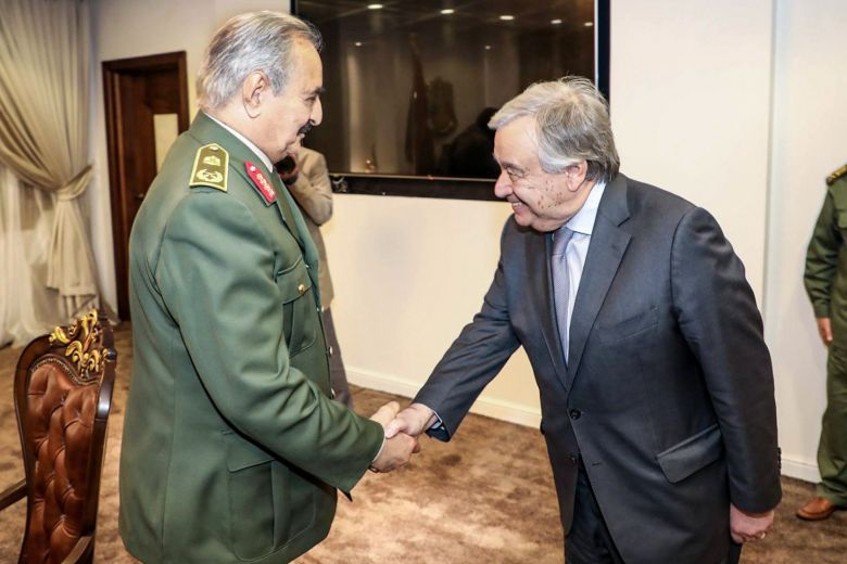 Field-Marshal-Khalifah-Abulqasim-Haftar-shakes-hands-with-UN-Secretary-General-Antonio-Guterres-032719-by-AFP, Statement issued at the meeting of Libyan National Forces to support the Libyan Armed Forces in fighting terrorist and extremist armed militias, World News & Views