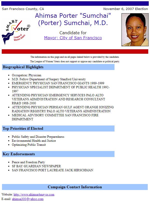 League-of-Women-Voters-Smart-Voter-on-Ahimsa-Sumchai-for-Mayor-2007, Houses in the MUD, Local News & Views