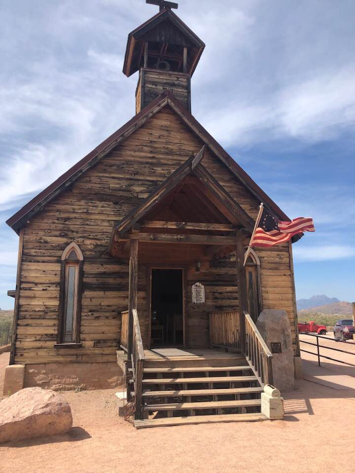 Rustic-old-church-in-ghost-town-of-Goldfield-Ariz-Betsy-Ross-flag-by-Tiny, Caging poor people: Occupied Land Truth Tour through Southwest Turtle Island, National News & Views