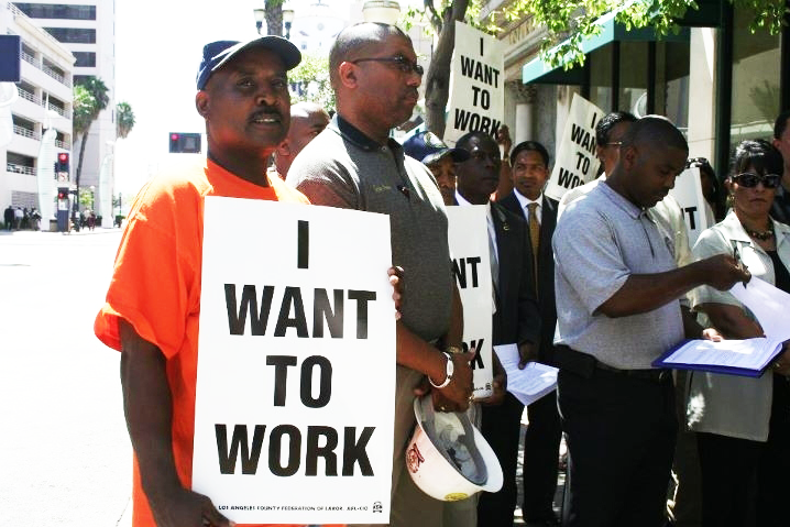 I-Want-to-Work'-former-Black-Panther-political-prisoner-Lorenzo-Komboa-Ervin-protests-job-lockout-in-Black-communities-082611-by-Libcom, Black contractors call Oakland's proposed Project Labor Agreement 'modern day slavery', Local News & Views