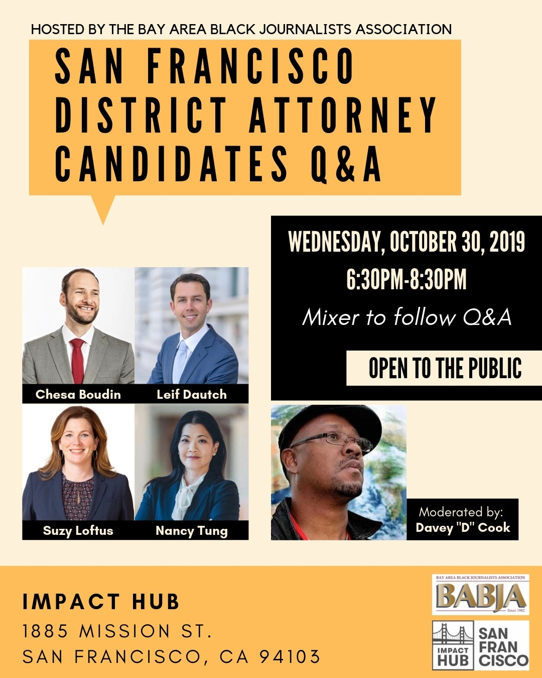 BABJA-SF-DA-Candidates-QA-103019-poster, BABJA to host Q&A with San Francisco District Attorney Candidates – Davey D to moderate – Wed., 10/30, Local News & Views
