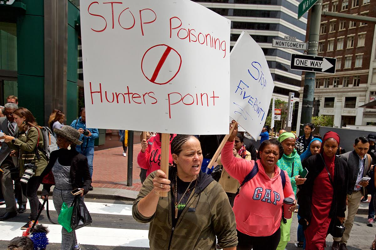 Charles-Bonner-press-conf-HP-residents-Shirley-Hamby-Lisa-Arnold-protest-Tetra-Tech-Sam-Singer-Mkt-Monty-070218-by-Kevin-N.-Hume-SF-Examiner, Scapegoating the judge: Tetra Tech deflects the blame for Hunters Point Shipyard eco-fraud, Local News & Views