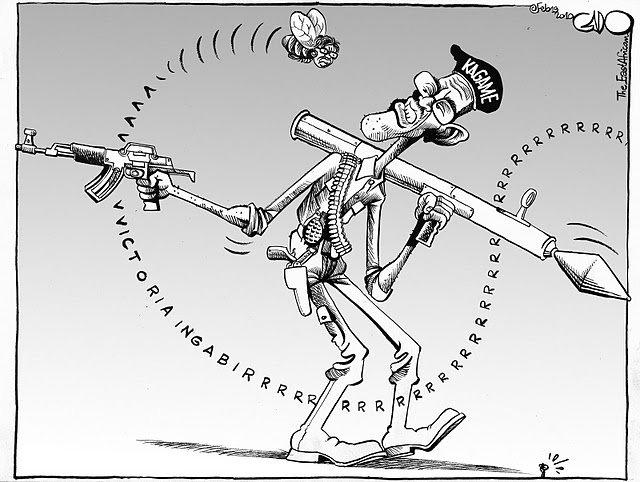 Paul-Kagame-w-Victoire-Ingabire-as-a-bee-buzzing-around-him-cartoon-art-by-Gado, Rwanda: Victoire Ingabire endures relentless interrogation, World News & Views