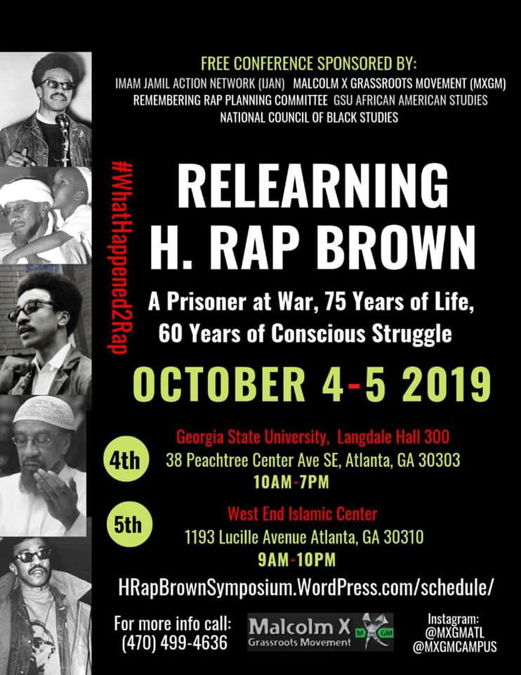 Relearning-H.-Rap-Brown-poster, Relearning H. Rap Brown Conference in Atlanta Oct. 4-5, Behind Enemy Lines
