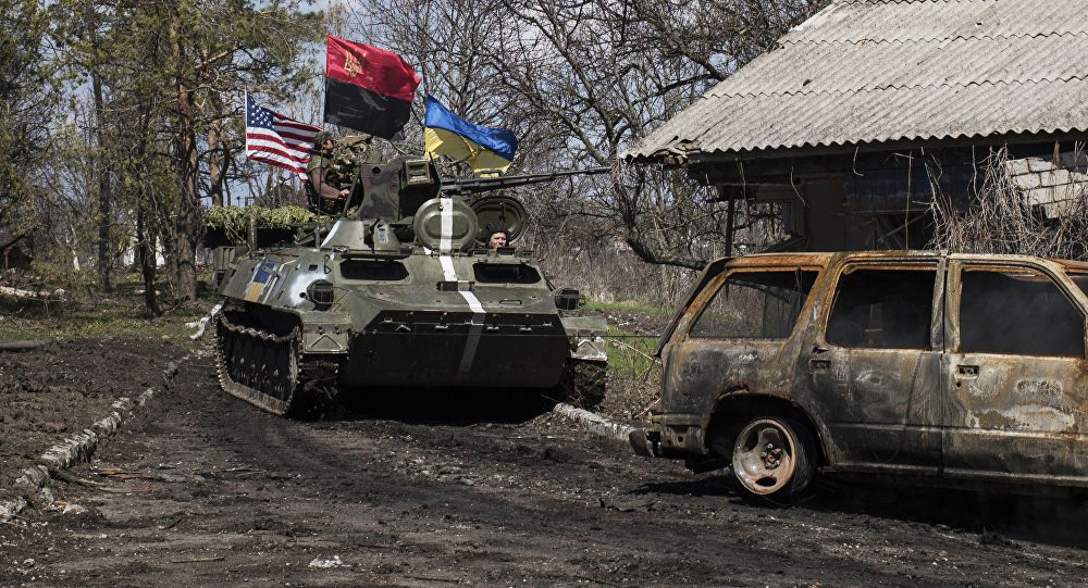 Tank-in-Ukraine's-Donbass-Region-flying-US-Ukraine-Ukraine's-'Right-Sector'-right-wing-militia-red-black-flags, Donald in the Donbass, Biden in the crossfire, World News & Views
