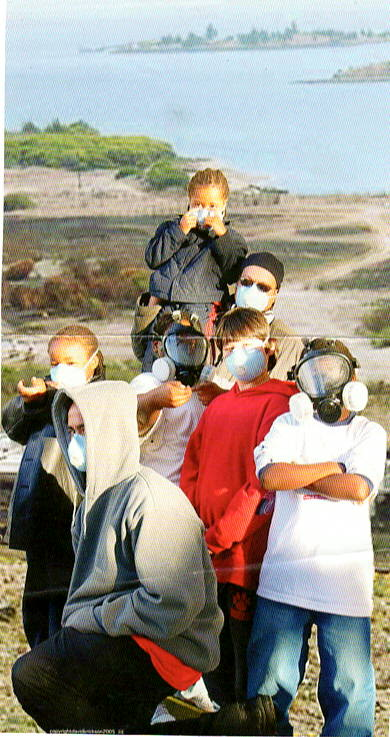 Muhammad-University-students-wear-masks-on-Hunters-Point-Hill-above-HP-Shipyard's-Parcel-E-landfill, HP Biomonitoring awarded Packard Foundation grant, Local News & Views