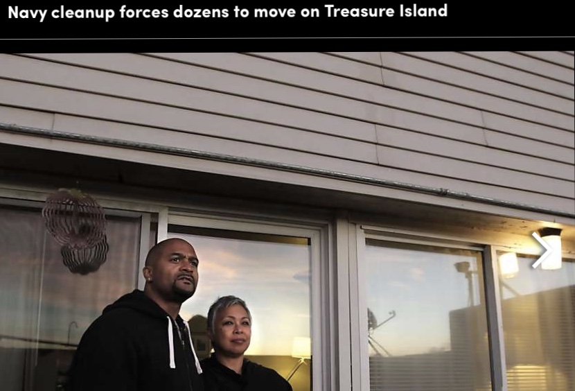 Treasure-Island-Paris-Cyndi-Hayes-at-then-home-1205-Bayside-Dr-by-Michael-Macor-SF-Chron, Navy removes an estimated 163+ new radiation deposits from two toxic dumps and dangerously radioactive soil from under occupied Treasure Island home, Local News & Views