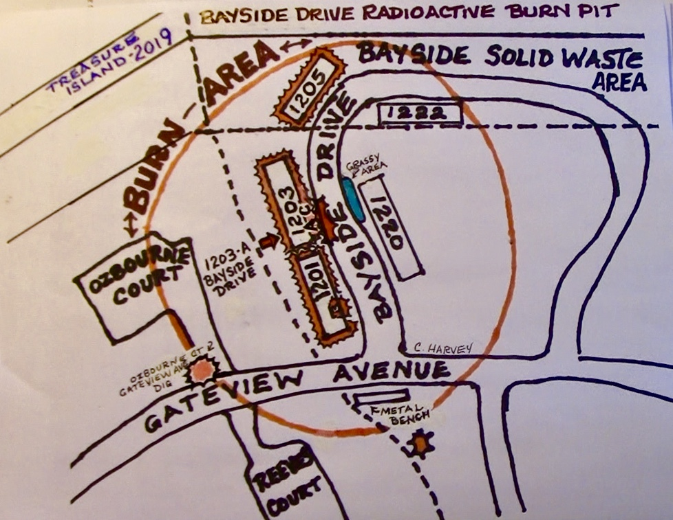 Treasure-Island-conceptual-map-of-Bayside-Drive-radioactive-burn-pit-by-Carol-Harvey-2, Navy removes an estimated 163+ new radiation deposits from two toxic dumps and dangerously radioactive soil from under occupied Treasure Island home, Local News & Views