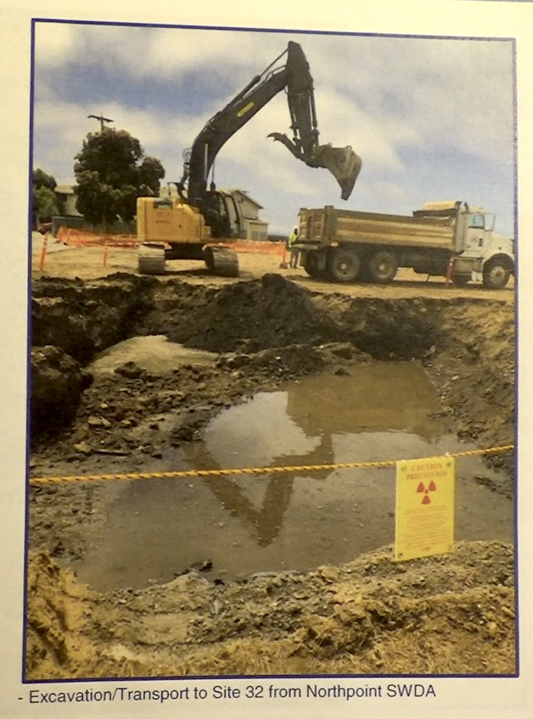 Treasure-Island-earthmover-scoops-out-deep-'potholes'-by-Navy, Navy removes an estimated 163+ new radiation deposits from two toxic dumps and dangerously radioactive soil from under occupied Treasure Island home, Local News & Views