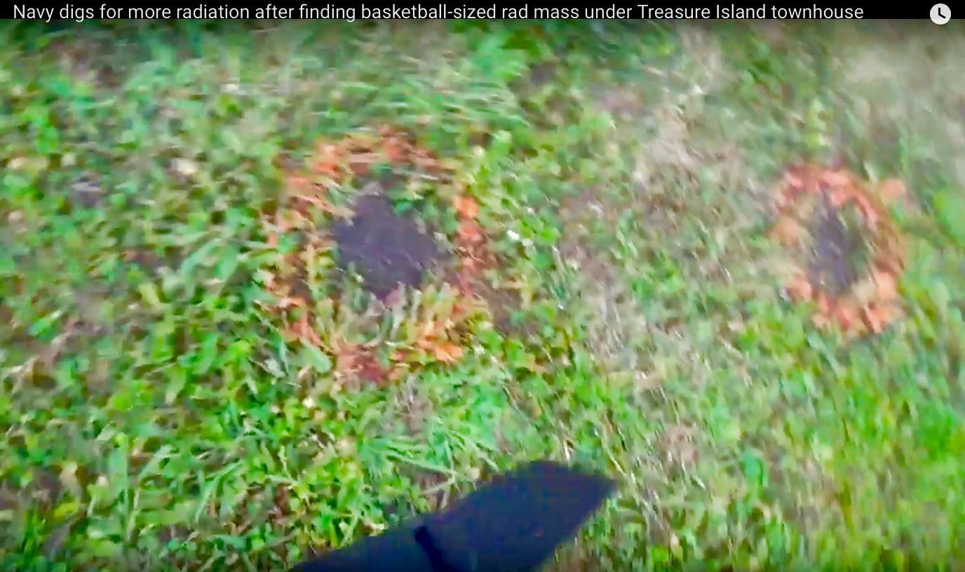 Treasure-Island-orange-circles-in-grass-between-1201-1203A-Bayside-Dr-for-future-digs, Navy removes an estimated 163+ new radiation deposits from two toxic dumps and dangerously radioactive soil from under occupied Treasure Island home, Local News & Views