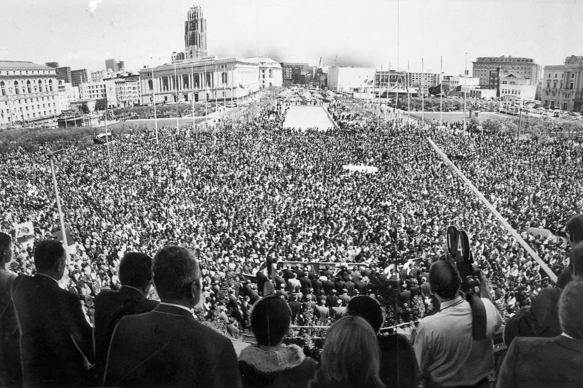 Memorial-to-Martin-Luther-King-huge-crowd-Civic-Center-day-after-assassination-040568-by-Joe-Rosenthal-SF-Chron, Give Dr. King the birthday present he wants: VOTE in Cali's March 3 primary, Culture Currents Featured
