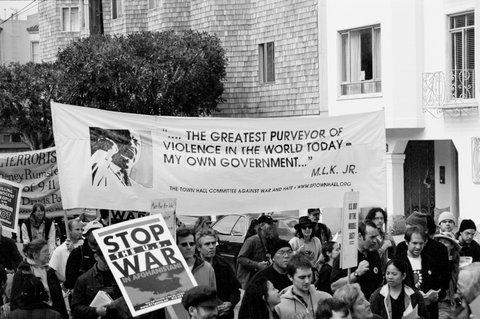 Antiwar-demonstrators-carry-MLK-Riverside-Church-quote-San-Francisco-2002, What lessons have we learned from the war in Vietnam?, World News & Views