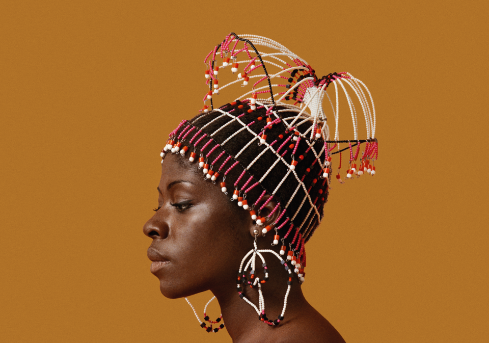 Sikolo-Brathwaite-in-headpiece-by-Carolee-Prince-African-Jazz-Art-Society-Studios-AJASS-in-Harlem-ca1968-in-Kwame-Brathwaite-Black-Is-Beautiful-0220-at-MoAD, 'Black Is Beautiful: The Photography of Kwame Brathwaite,' closing March 1, Culture Currents