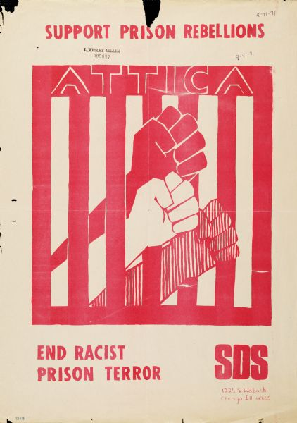 Support-Prison-Rebellions-Attica-SDS-poster-1971, National Solidarity Events to Amplify Prisoners' Human Rights, Aug. 21 – Sept. 9, 2020, Behind Enemy Lines