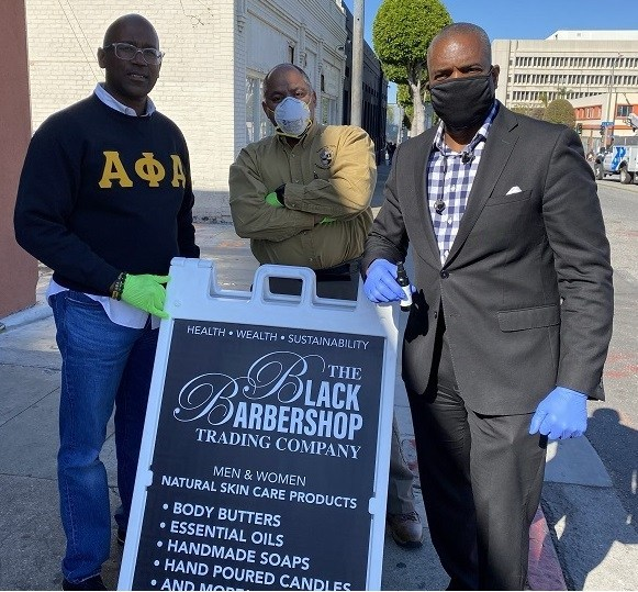 Black-Barbershop-Health-Outreach-Program-distributes-masks-hand-sanitizers-to-seniors-poor-in-LA-0320, Statement on COVID-19, militarism and community safety, Local News & Views