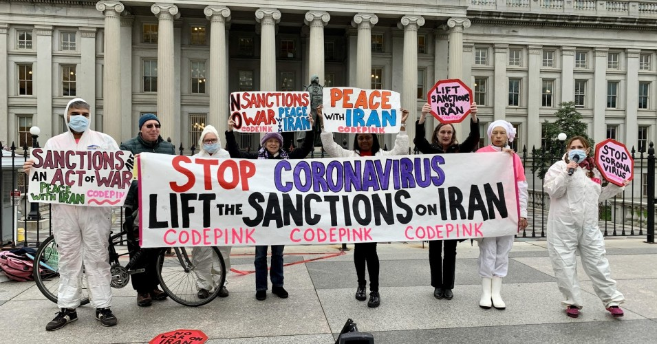 CODEPINK-protests-outside-the-Treasury-Department-by-Medea-Benjamin, If all lives matter, lift U.S. sanctions against Iran to curb the spread of coronavirus, World News & Views
