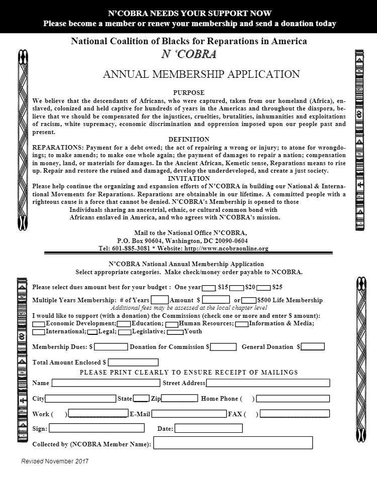 NCOBRA-Membership-Application-Form, All aboard … for Reparations!, Local News & Views