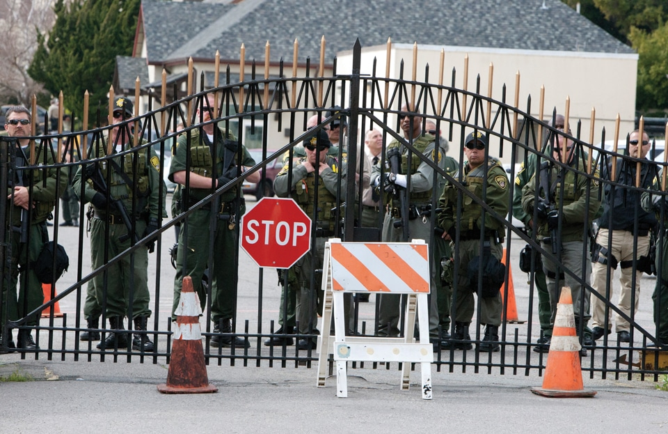 Occupy-San-Quentin-guards-at-gate-022012-4-by-Malaika-web-1, California prisoners seek federal court action to lower population levels, Behind Enemy Lines