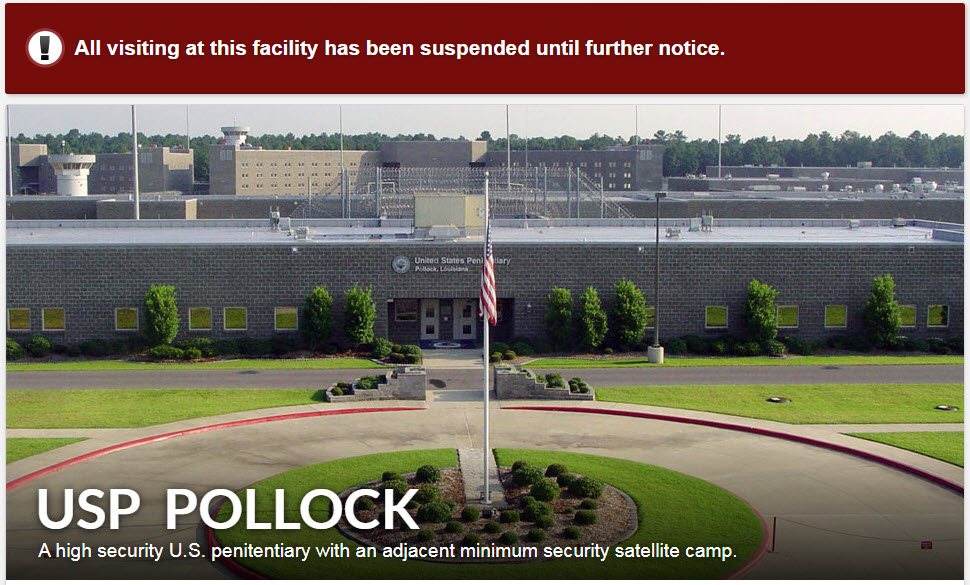 USP-Pollock-on-lockdown-122219, COVID-19 test kits needed for Federal Bureau of Prisons now! Screening is not testing., Behind Enemy Lines