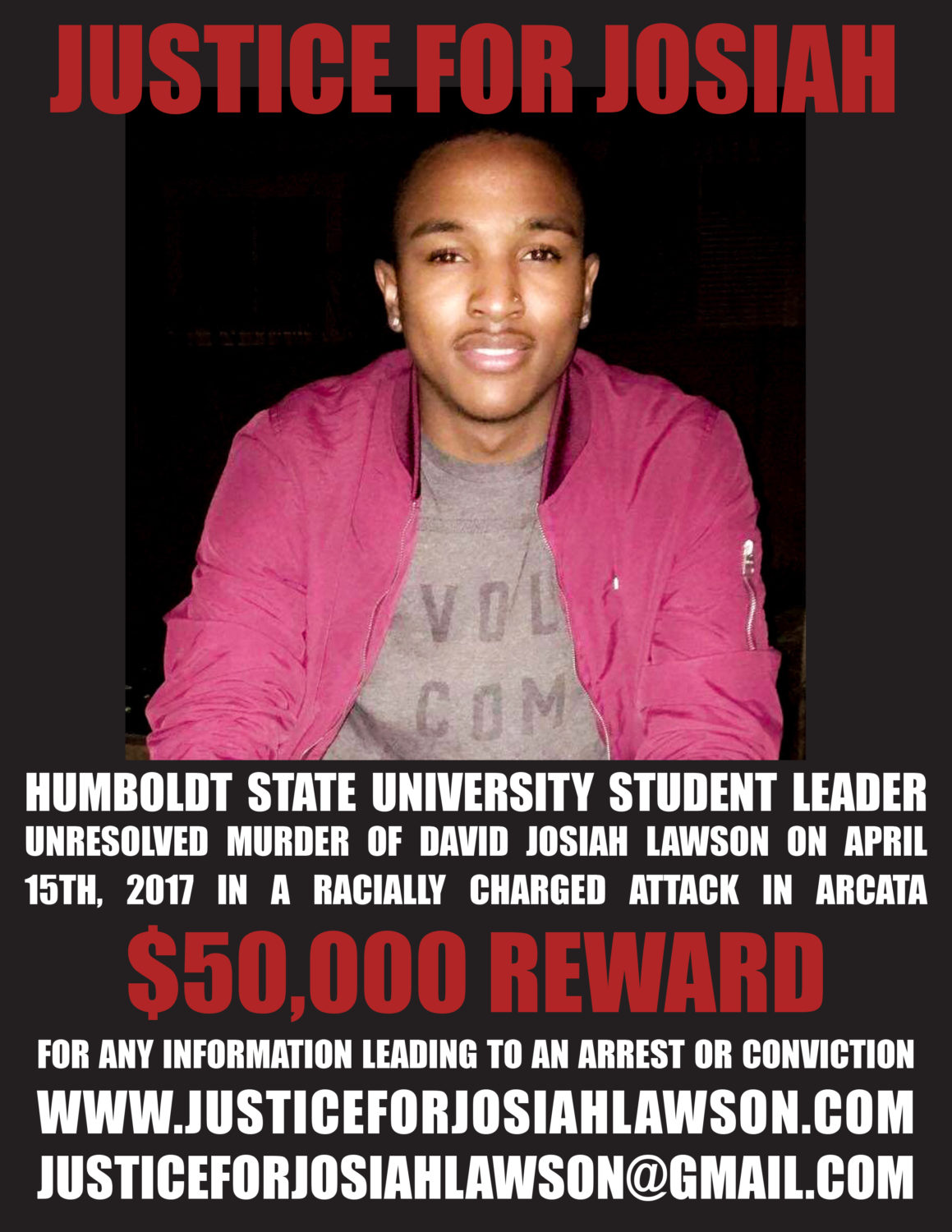 Justice-for-Josiah'-'50000-reward'-poster-1, Justice for Josiah: Humboldt community demands action on third anniversary of Black student's murder, Local News & Views