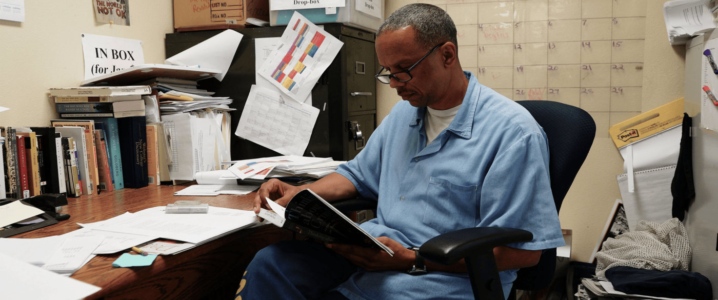 James-King-studying-at-San-Quentin-before-release-now-at-Ella-Baker-Center-1-1400x585, A plea to Governor Newsom: Don't abandon elderly incarcerated people to die from COVID-19, Behind Enemy Lines