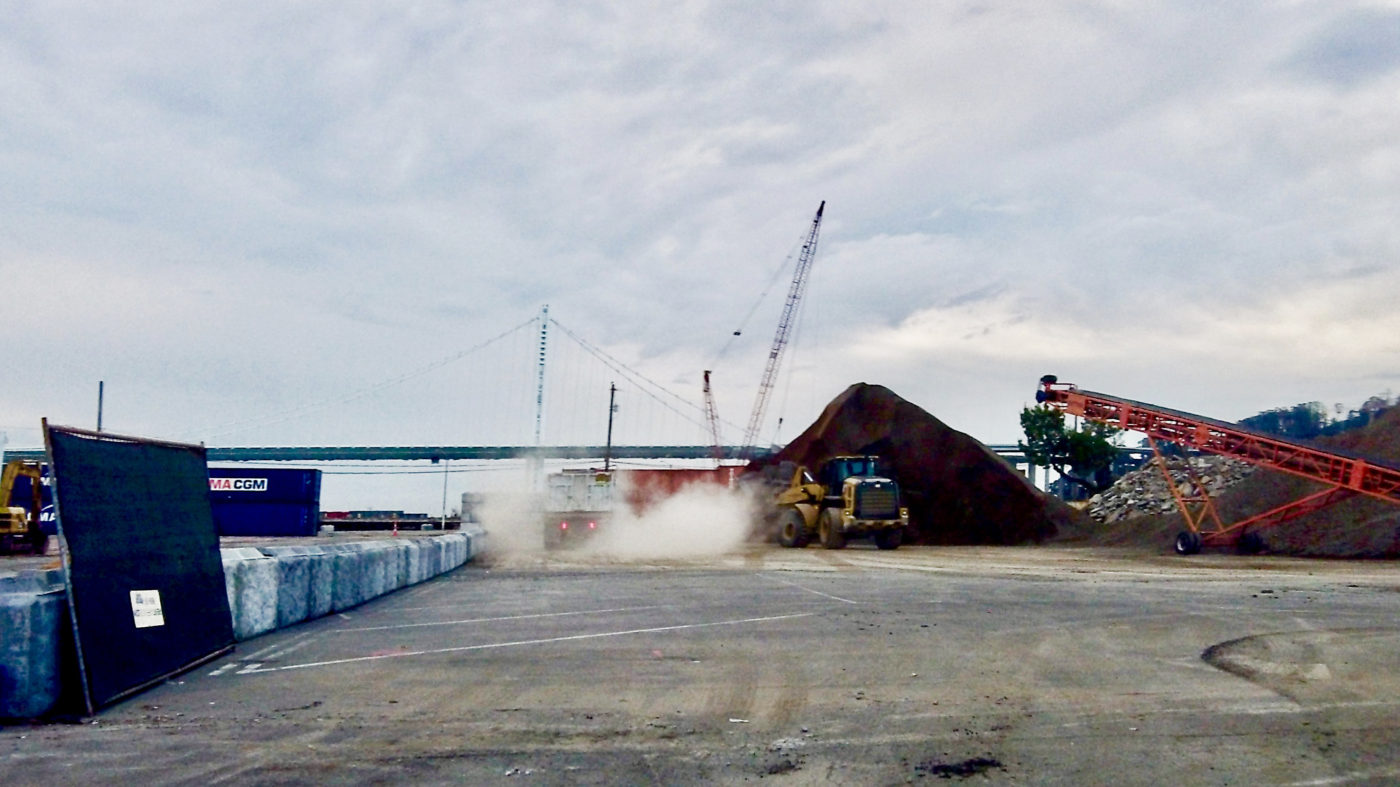 Treasure-Island-dust-clouds-from-materials-site-3rd-4th-streets-by-Carol-Harvey-1400x787, Despite coronavirus pandemic, Treasure Island cleanup and redevelopment construction continues to raise toxic dust, Local News & Views