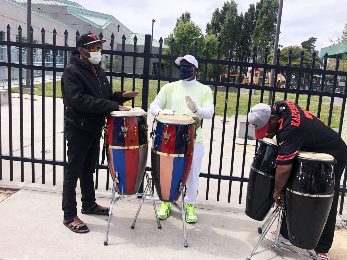 Beds-4-Bayview-Hunters-Point-natives-Tony-Mayfield-Jerome-Collins-Fred-play-conga-drums-for-MLK-Park-residents-almost-every-day-1400x1050, Community seizes MLK Park as immediate COVID relief for unhoused neighbors, Local News & Views