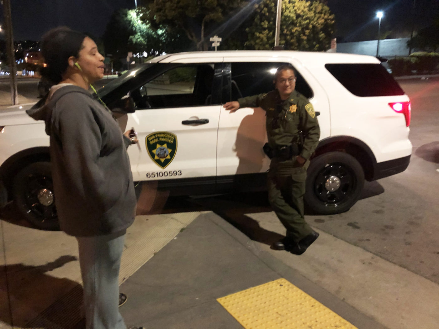 Beds-4-Bayview-Michelle-Pierce-passionately-advocates-to-Park-Rec-officer-for-tents-in-MLK-Park-night-of-040920-1400x1050, Community seizes MLK Park as immediate COVID relief for unhoused neighbors, Local News & Views