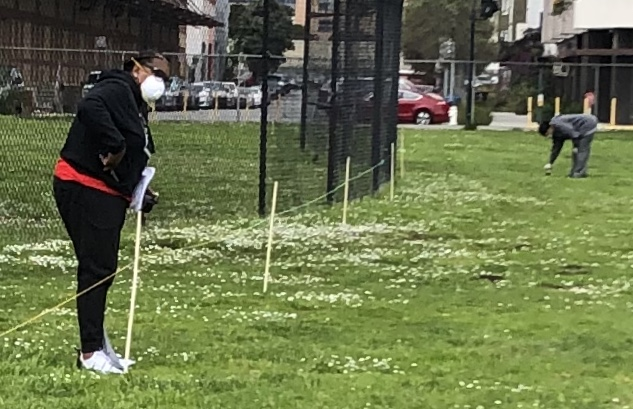 Beds-4-Bayview-UCHS-CEO-Gwendolyn-Westbrook-Gloria-Berry-stake-out-tent-locations-at-MLK-Park-040920, Community seizes MLK Park as immediate COVID relief for unhoused neighbors, Local News & Views