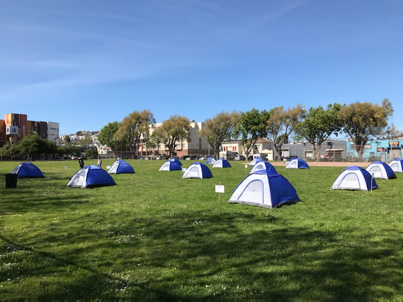 Beds-4-Bayviews-1st-attempt-at-creating-tent-community-in-MLK-Park-040920, Community seizes MLK Park as immediate COVID relief for unhoused neighbors, Local News & Views