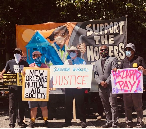 New-Orleans-hoppers'-supporters-Bill-Quigley-ctr-Rev.-Gregory-Manning-Malcolm-Suber-other-organizers-on-picket-line-0520-2, New Orleans sanitation 'hoppers' form union, strike for hazard pay, PPE, benefits, National News & Views