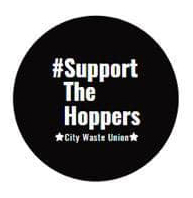 Support-the-Hoppers-City-Waste-Union-button, New Orleans sanitation 'hoppers' form union, strike for hazard pay, PPE, benefits, National News & Views