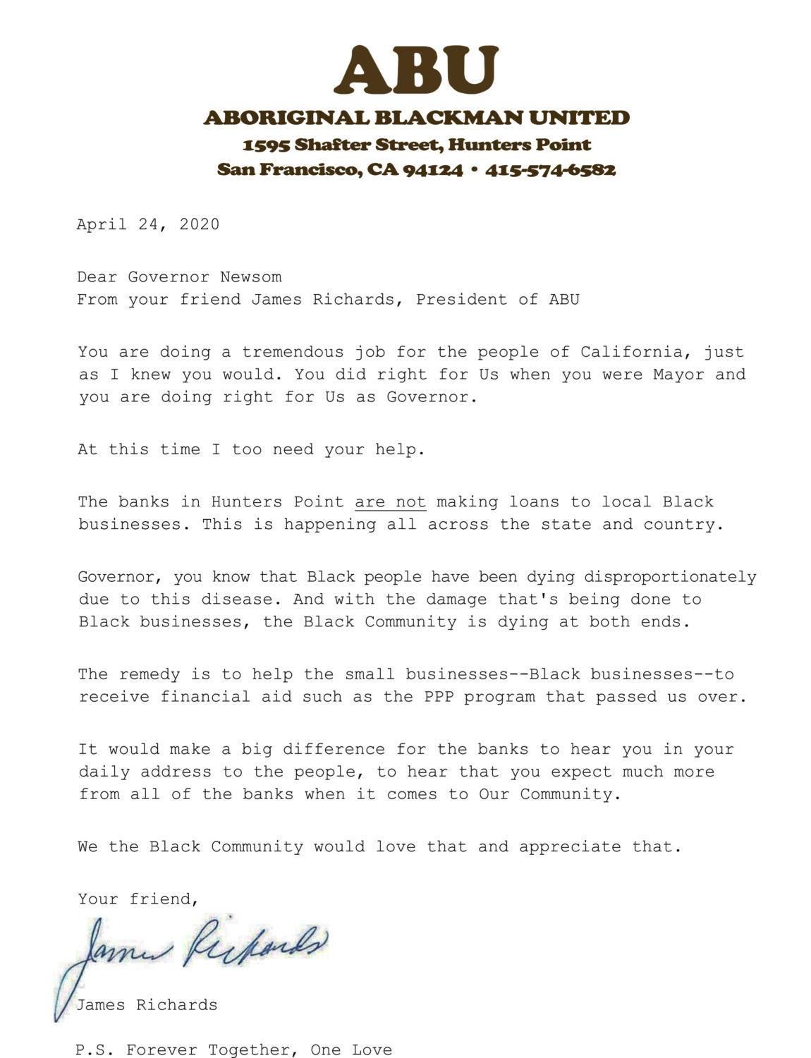 ABU-James-Richards-ltr-to-Gov.-Newsom-on-loan-justice-042420, Why bother? A question by Black small businesses during the COVID-19 crisis, Local News & Views