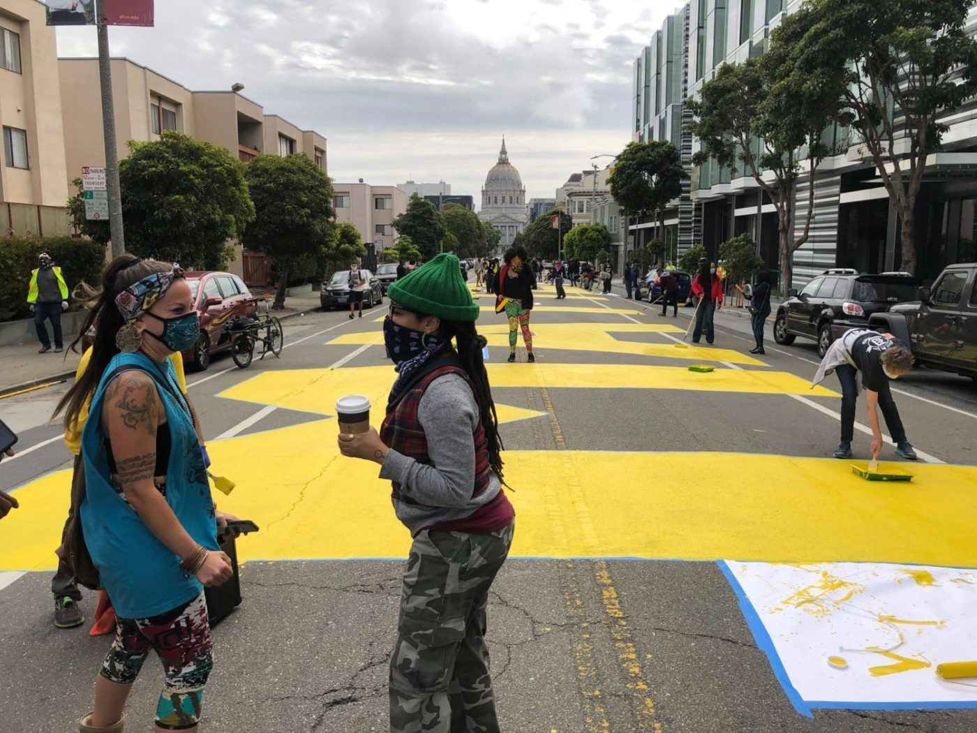 Melonie-Melorra-Green-Project-Level-lead-'Black-Lives-Matter'-700-block-Fulton-street-painting-061220-2-by-Meaghan-Mitchell-Hoodline-1400x1050, 100+ volunteers paint 'Black Lives Matter' in center of San Francisco street, Local News & Views